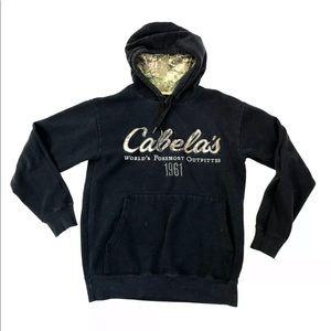 Cabelas Black Pullover Hoodie Sweatshirt